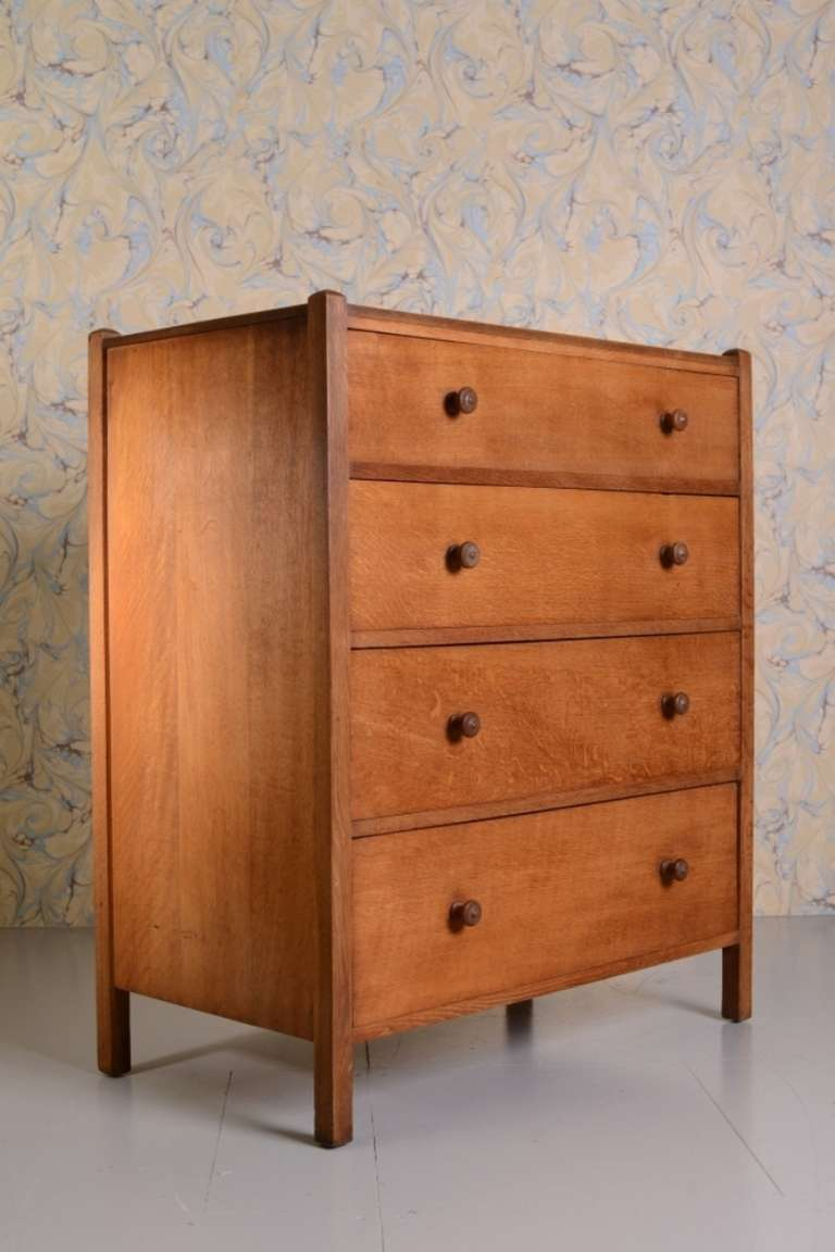 Heals Antique Oak Letchworth Chest Of Drawers At 1stdibs