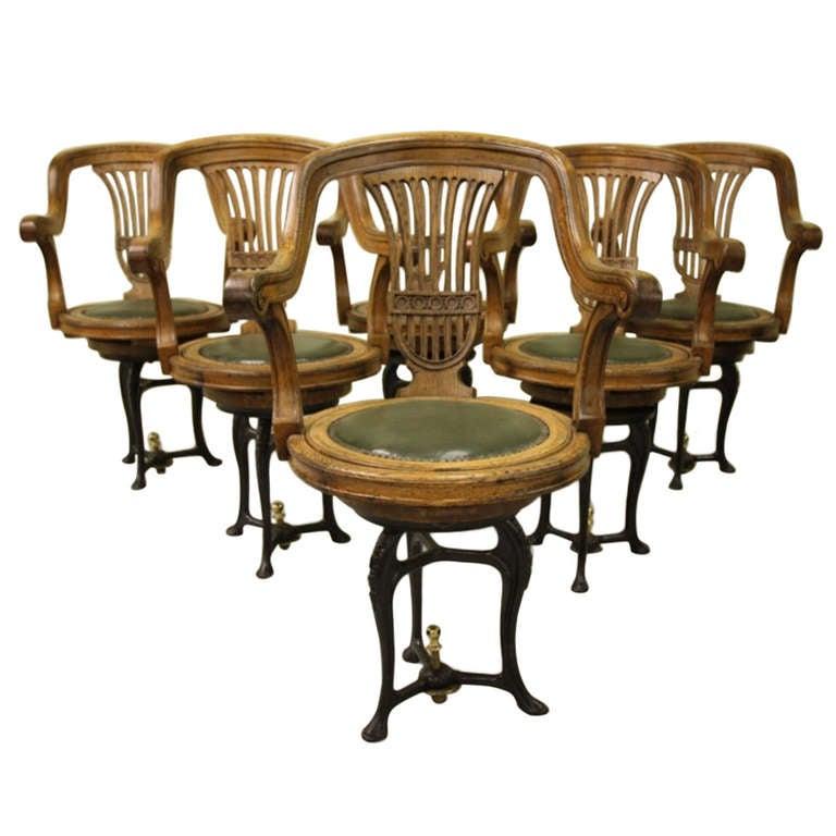 Antique Oak Dining Chairs Set 4