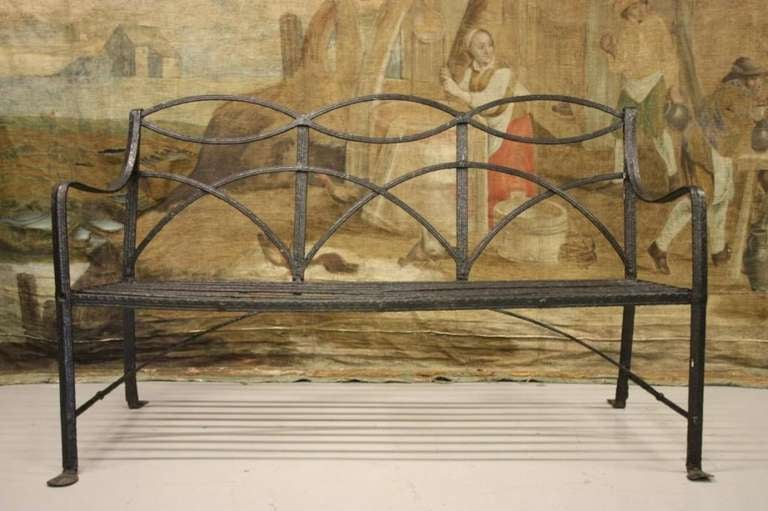 Regency Antique Wrought Iron Garden Bench at 1stdibs