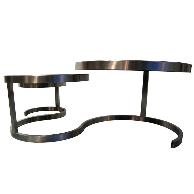 Willy Rizzo 3 Nest Tables With Black Opalin Glass At 1stdibs