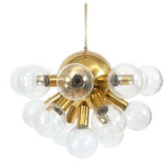 Sputnik Globe Lamp Glass and Brass Chandelier by J.T. Kalmar, 1960