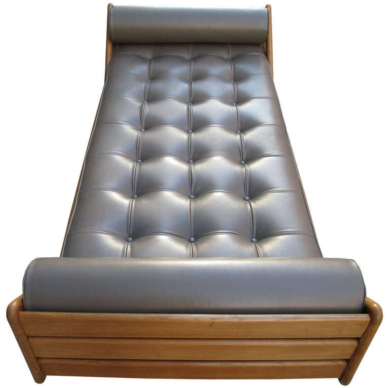 louis paolozzi leather and oak sofa daybed 3