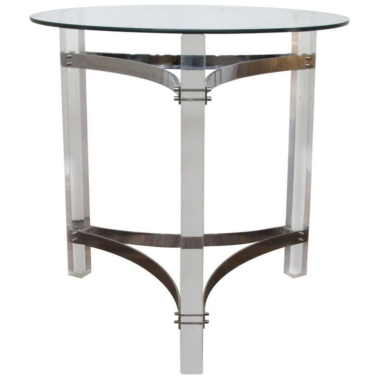 Acrylic And Chromed Steel Table For Sale At 1stdibs