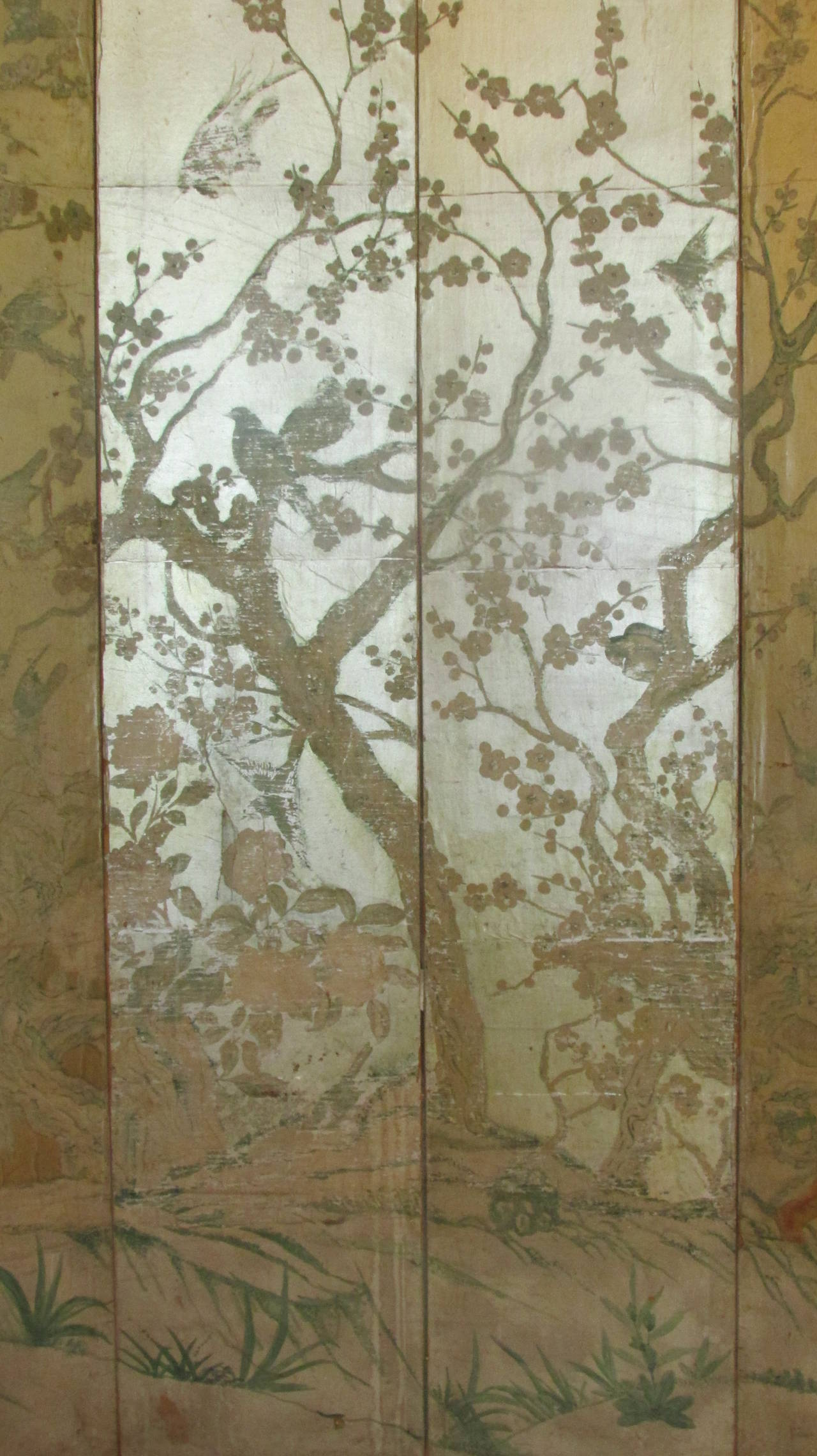 Silver Leaf Chinoiserie Paint Decorated Wallpaper Screen At 1stdibs