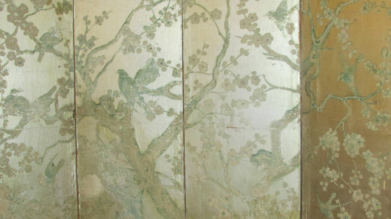 silver leaf chinoiserie paint decorated wallpaper screen