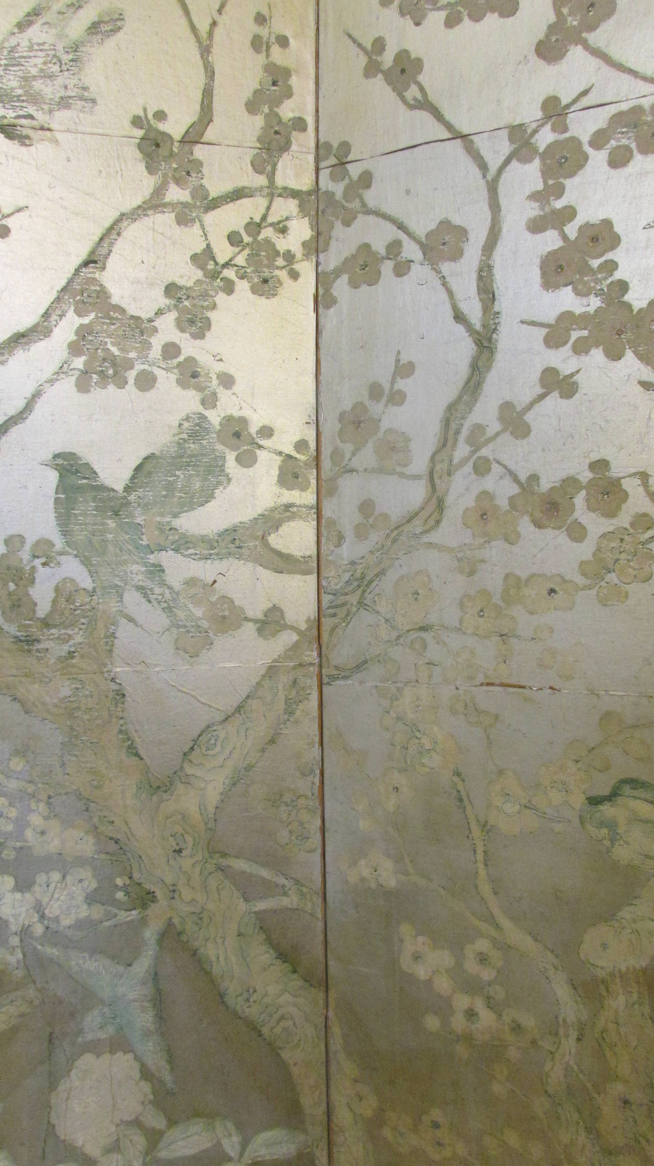 Silver Leaf Chinoiserie Paint Decorated Wallpaper Screen ...