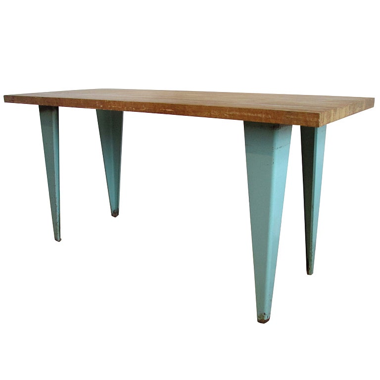 jean prouve style industrial table at 1stdibs. Black Bedroom Furniture Sets. Home Design Ideas
