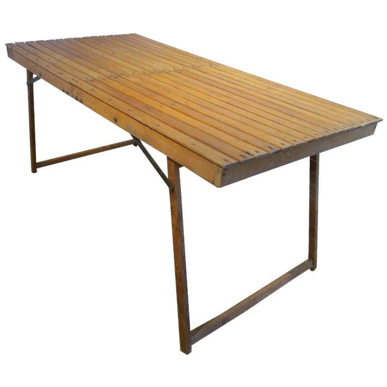 Wood Slat Folding Campaign Table at 1stdibs : 27408XXX019 from www.1stdibs.com size 768 x 768 jpeg 43kB