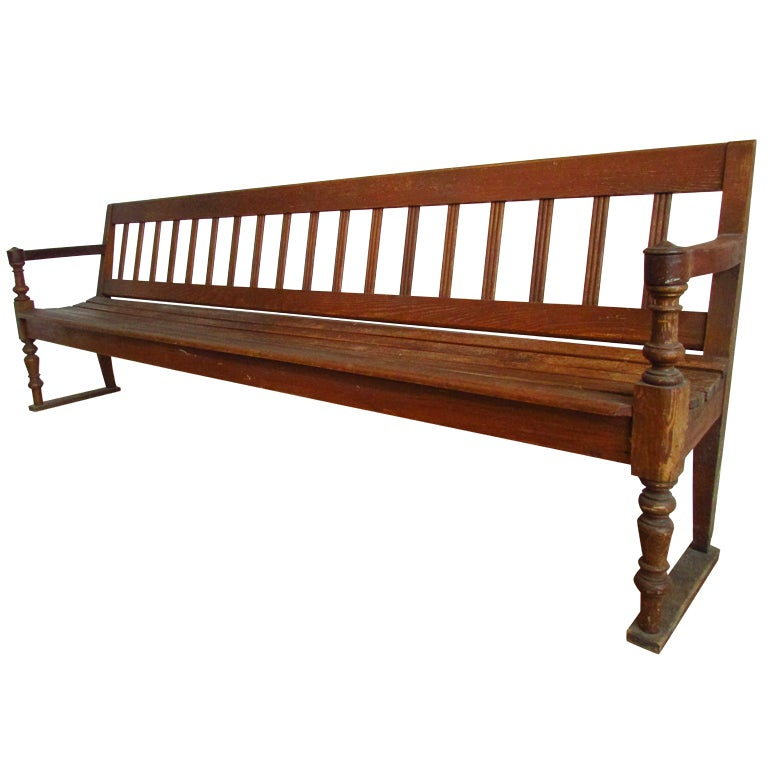 Antique American Long Slatted Wood Bench At 1stdibs