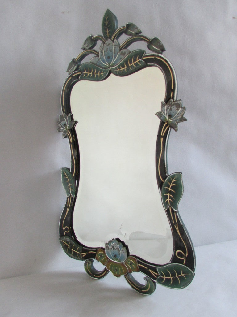 Reverse Painted Venetian Fantasy Lilly Pad Mirror At 1stdibs