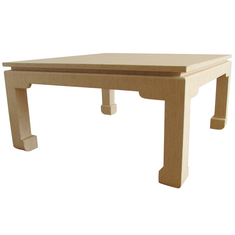 Karl Springer Style Lacquered Linen Coffee Table 1