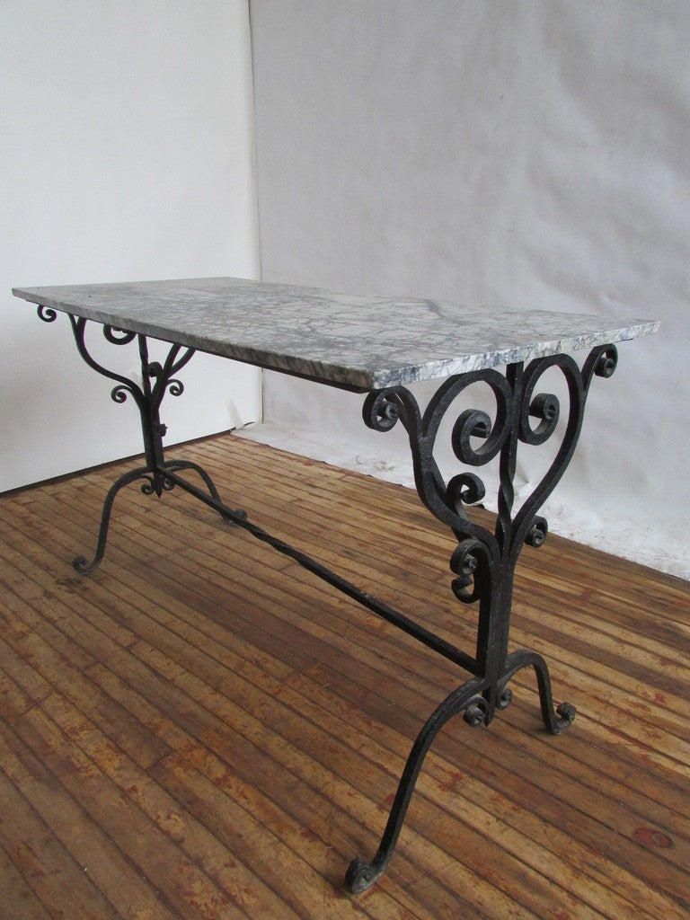 French Iron And Marble Pastry Table 3