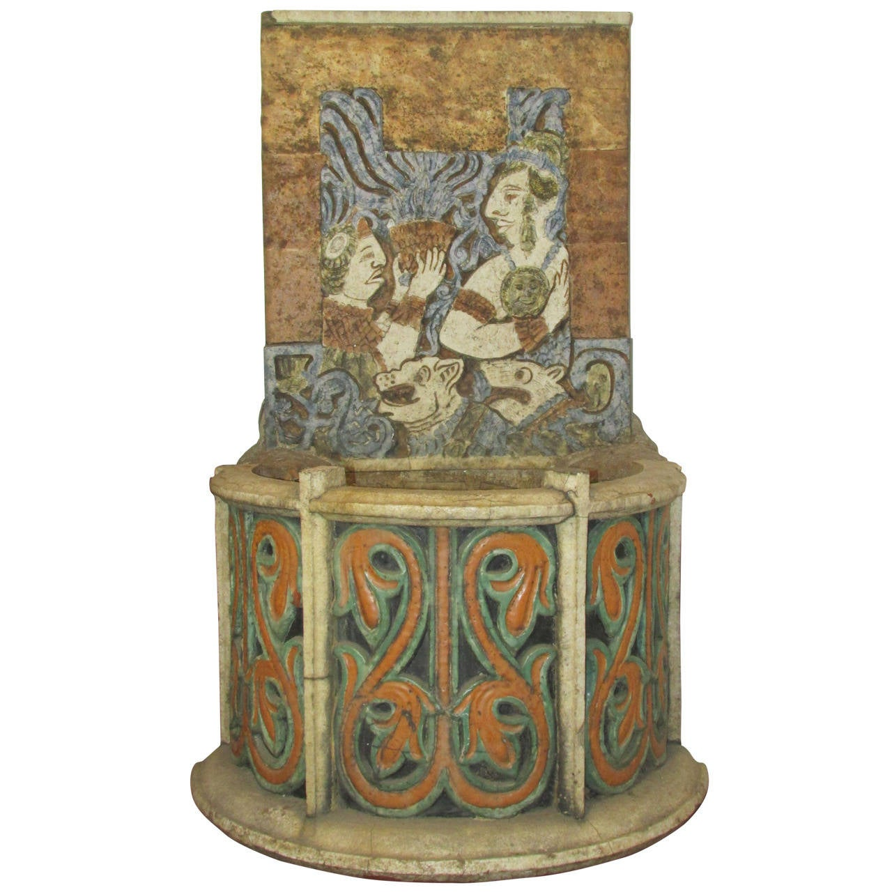Rare Antique Terracotta Tile Aztec Mayan Design Fountain