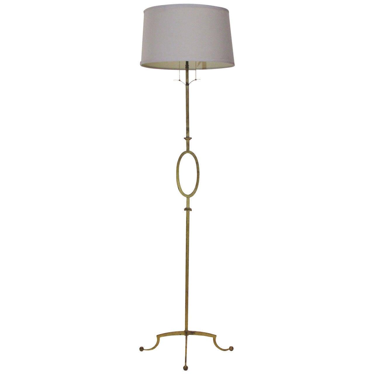 Gilded Iron Floor Lamp Poillerat