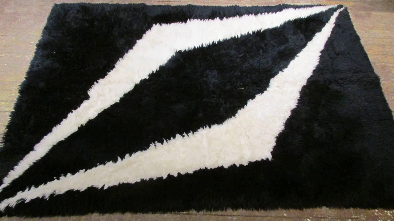 modernist black and white rya shag area rug at 1stdibs. Black Bedroom Furniture Sets. Home Design Ideas
