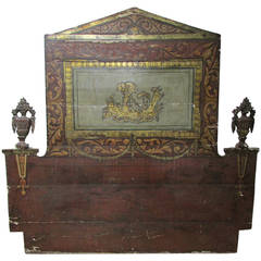18th Century Venetian Gilded and Polychrome Painted Headboard