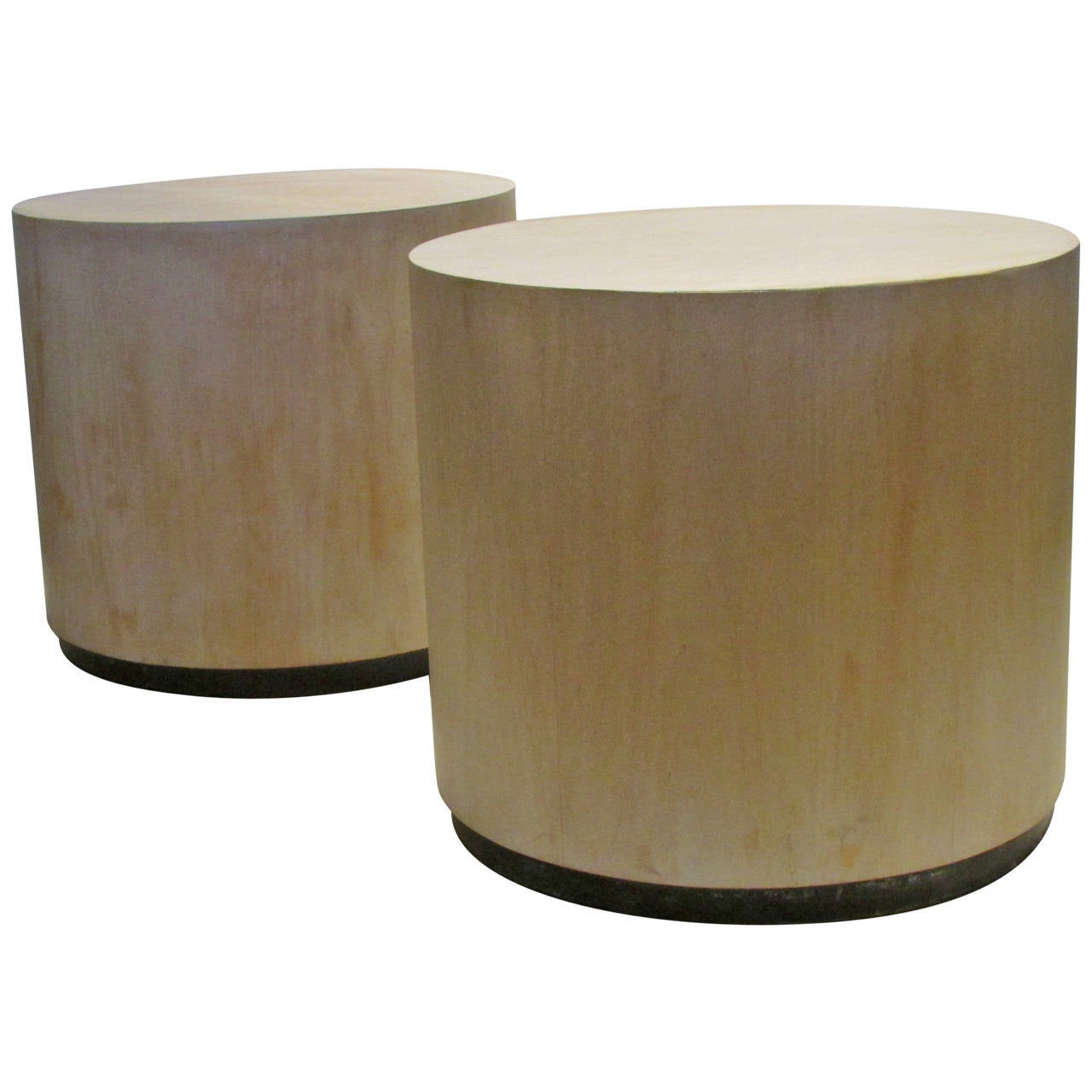 Pair Of Modernist Bleached Wood Cylinder Tables 1