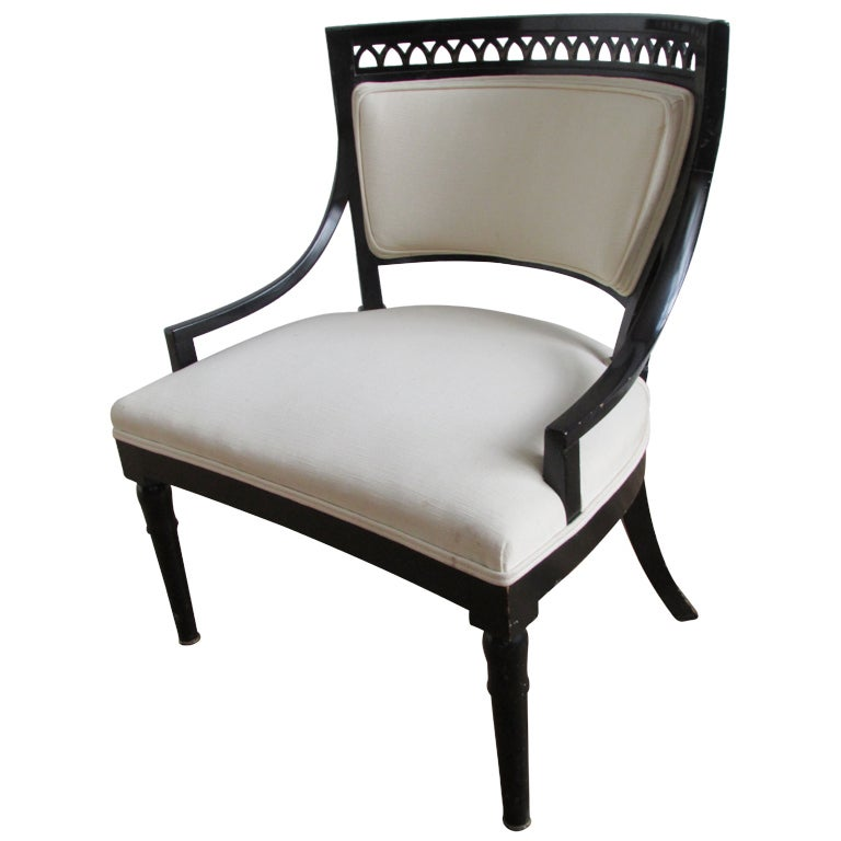 1940's Neoclassical Black Lacquered Armchair