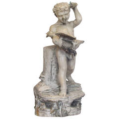 Antique Glazed Terracotta Garden Fountain of a Woodland Boy and Goose