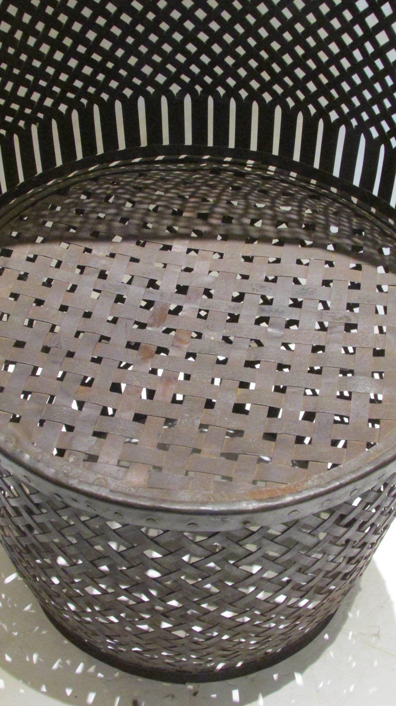 Riveted Woven Metal Drum Barrel Chair At 1stdibs