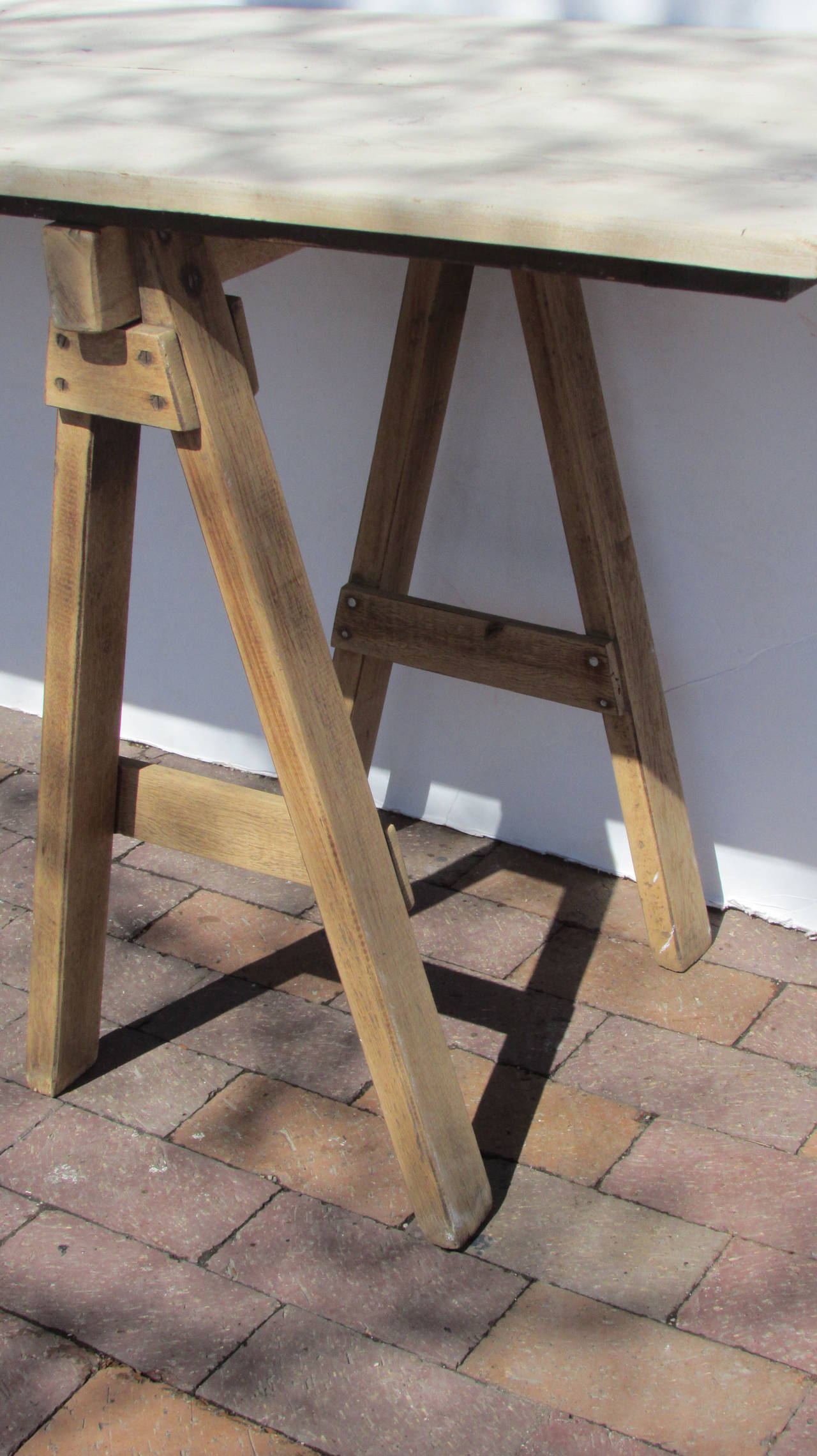 Antique American Wood Sawhorse Table At 1stdibs