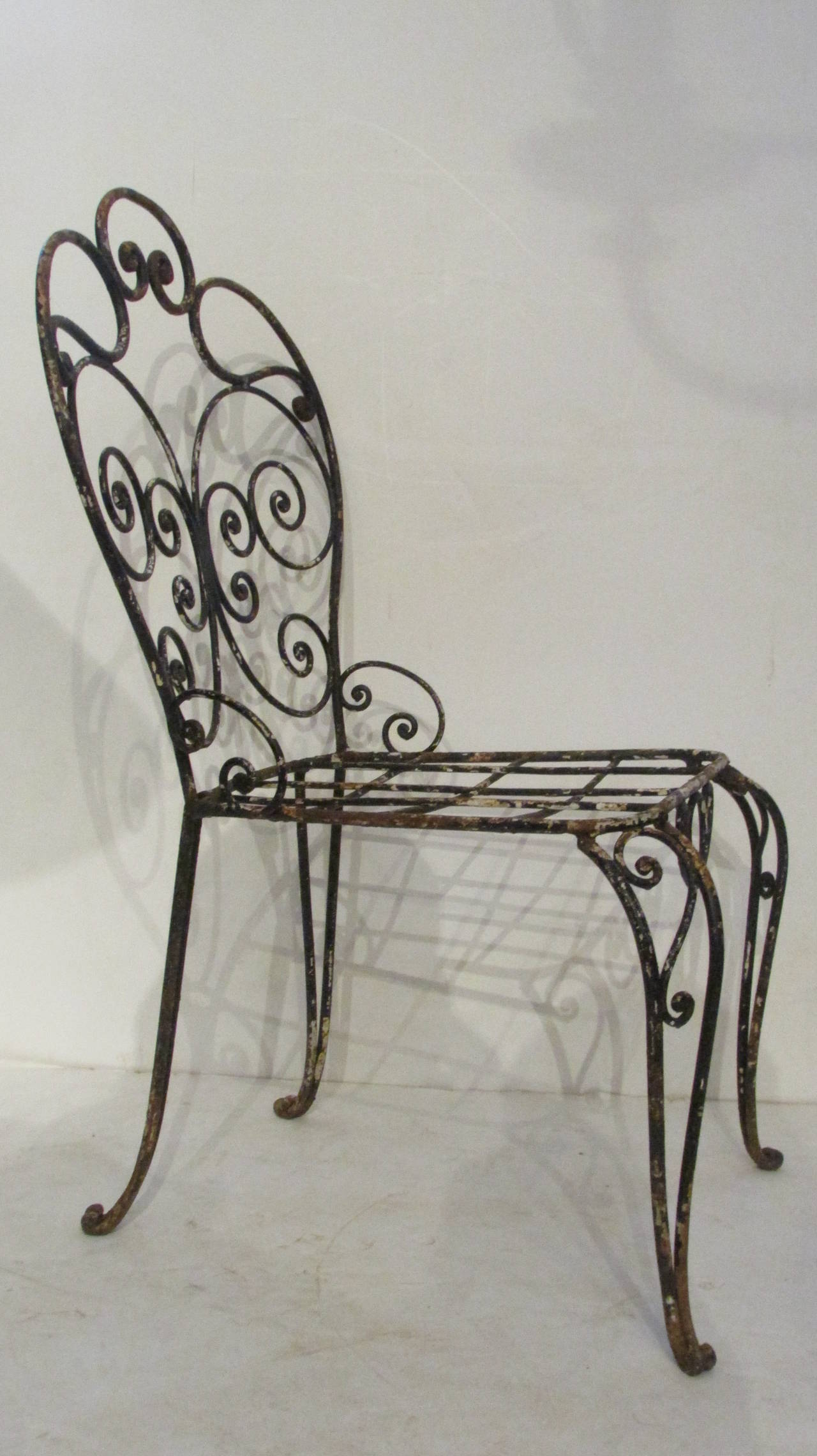 20th Century 1940s French Iron Garden Chair For Sale