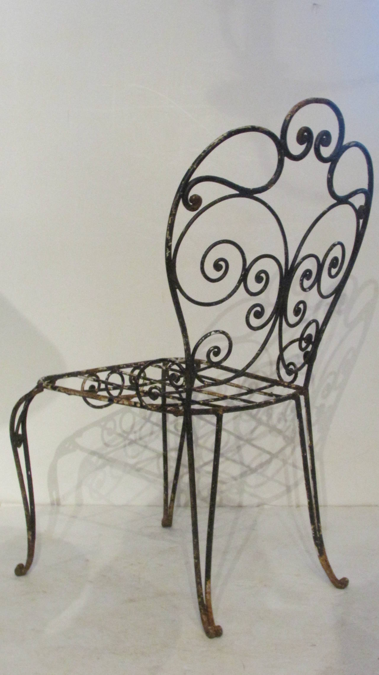 1940s French Iron Garden Chair For Sale 1