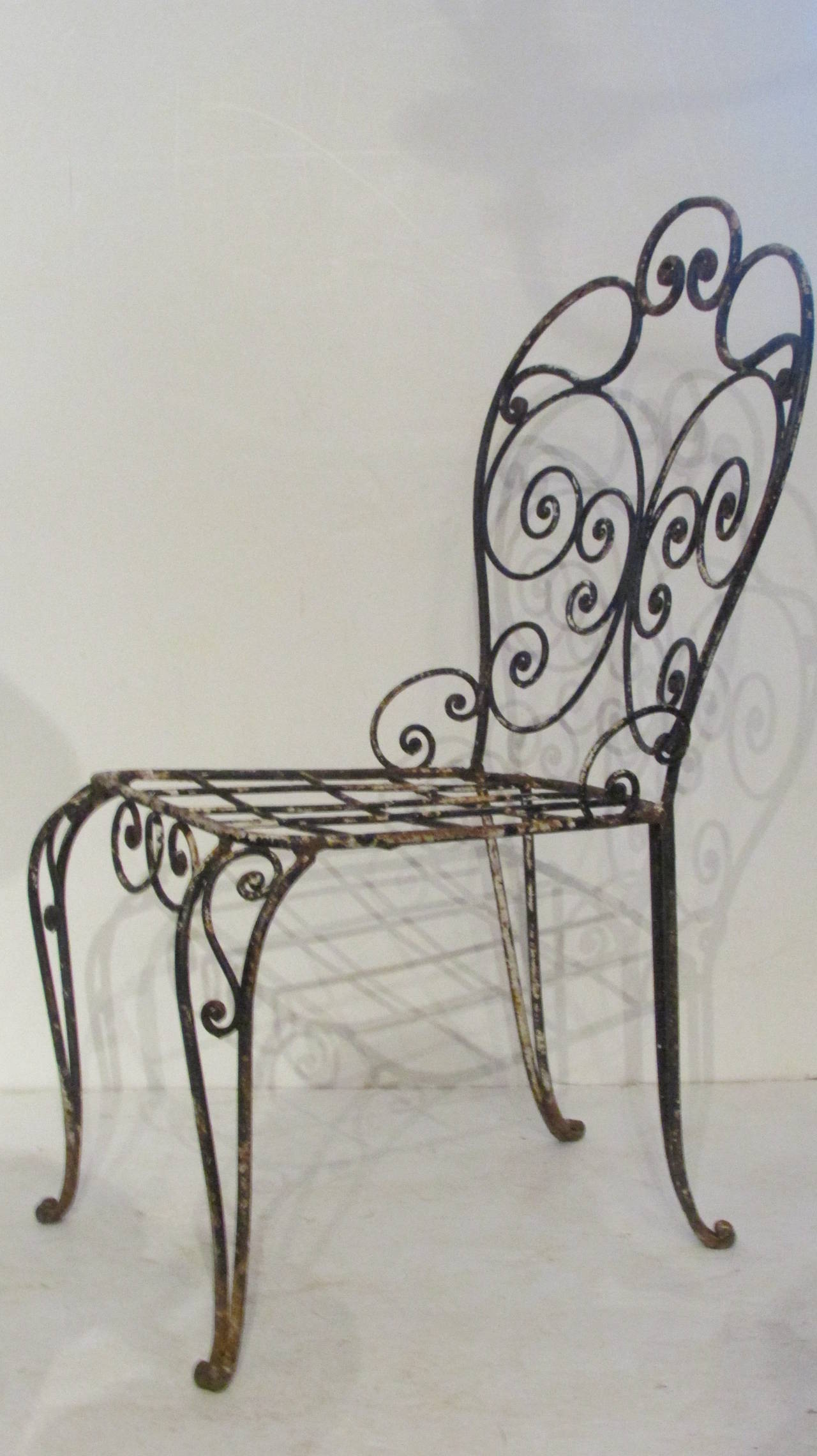1940s French Iron Garden Chair For Sale 2