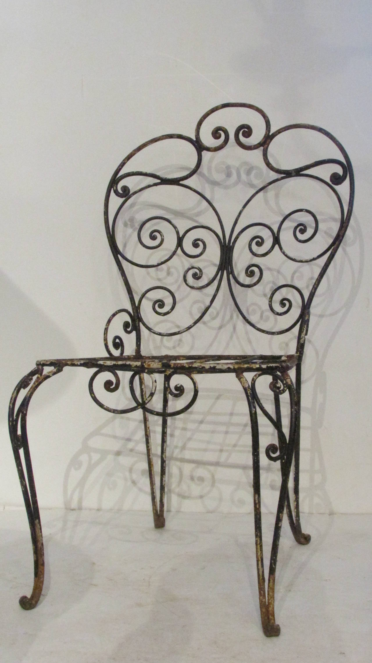 1940s French Iron Garden Chair For Sale 3