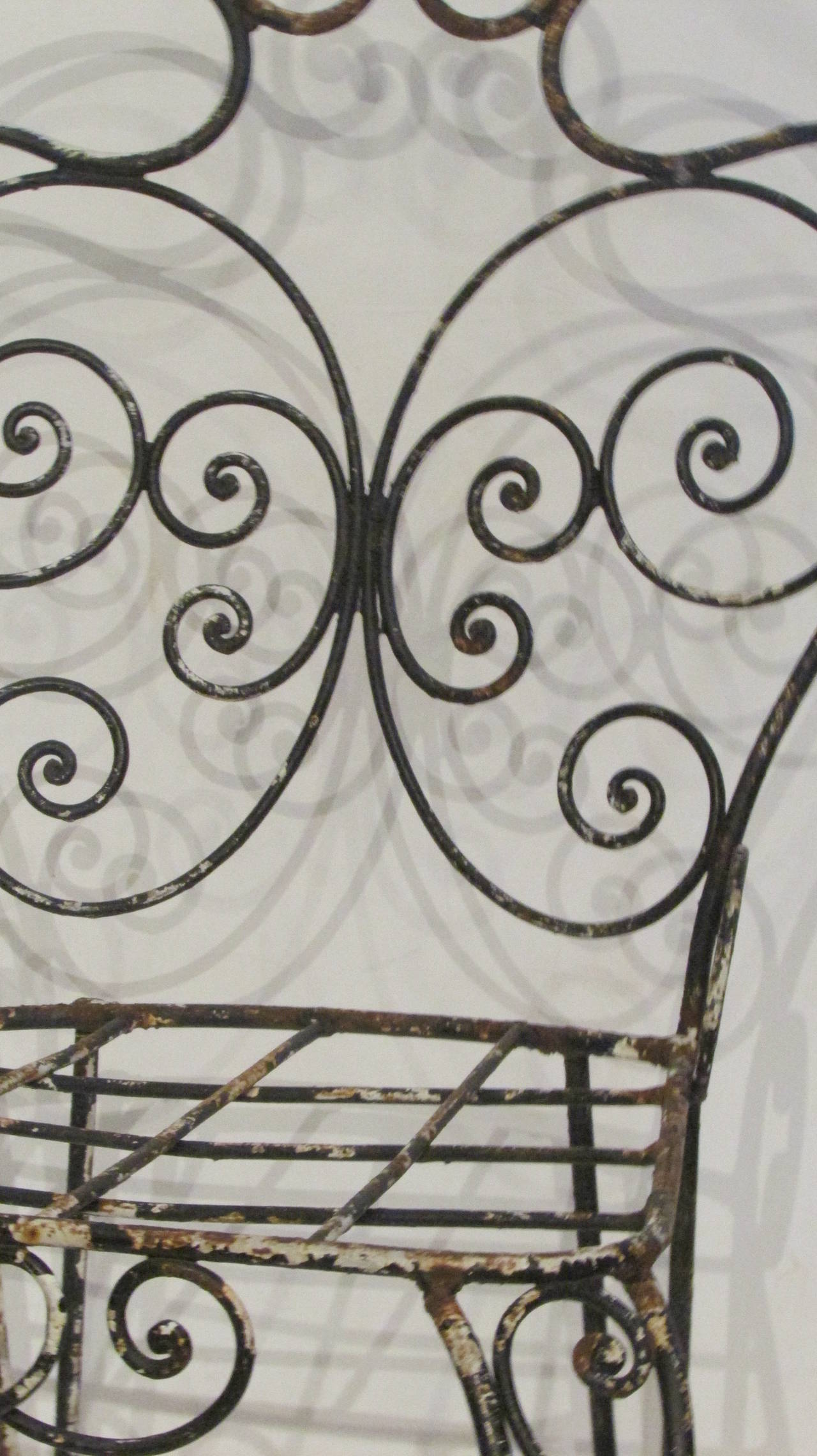 1940s French Iron Garden Chair For Sale 5