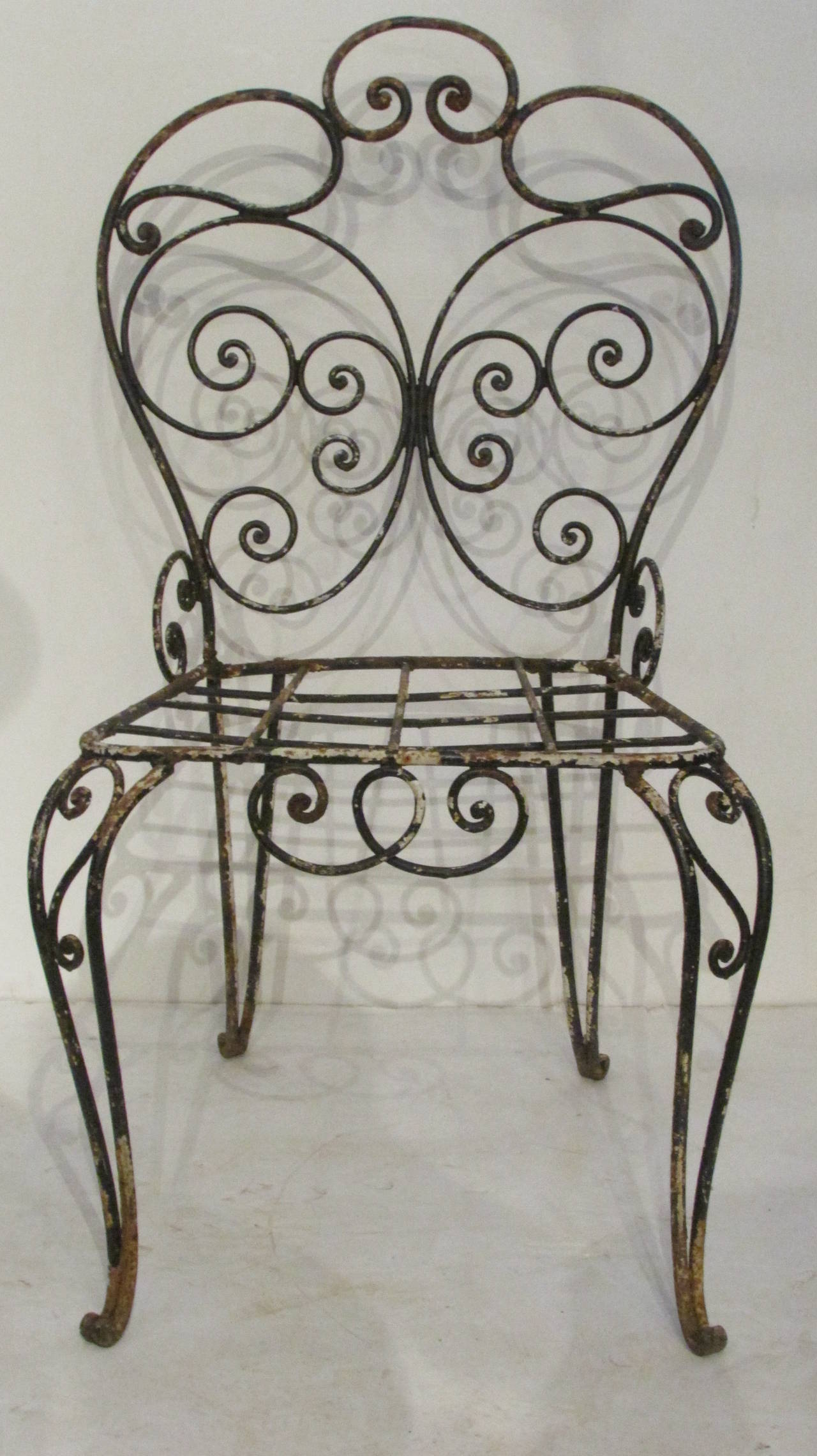 1940s French Iron Garden Chair For Sale 6