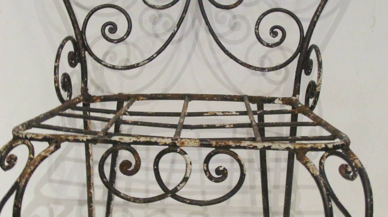 1940s French Iron Garden Chair For Sale 4
