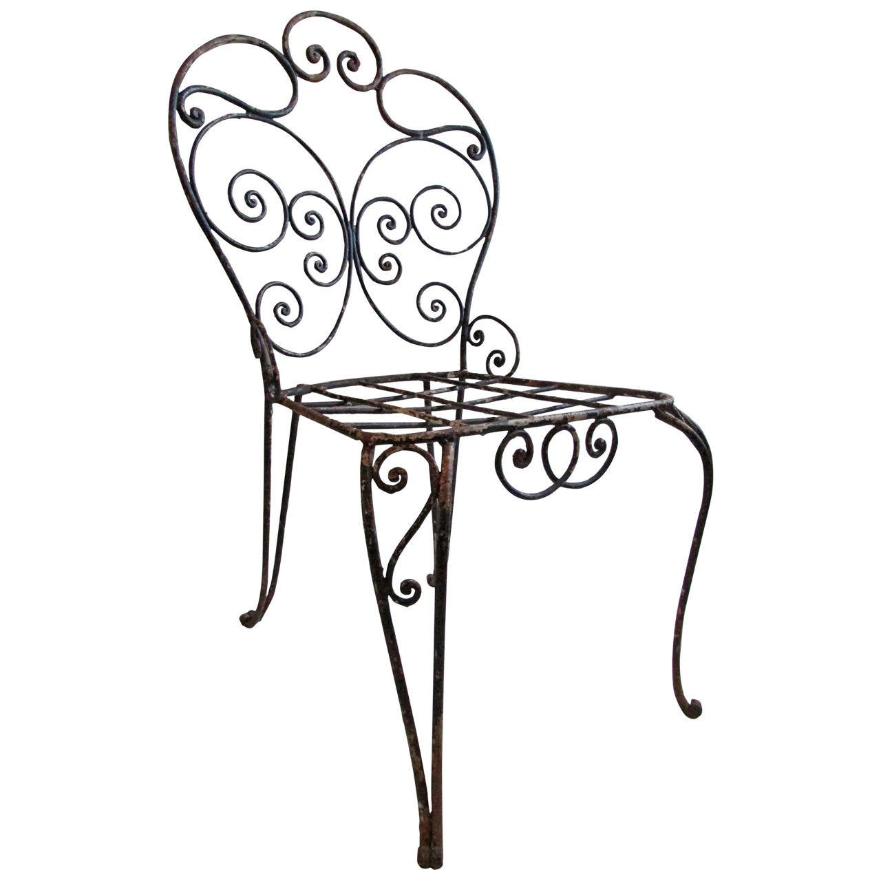 1940s French Iron Garden Chair For Sale