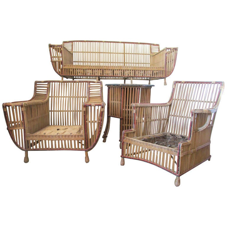 Four Piece American Art Deco Stick Wicker Set At 1stdibs
