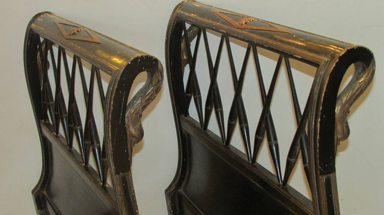 1940s Regency Ebonized Headboards With Gilded Swans At 1stdibs