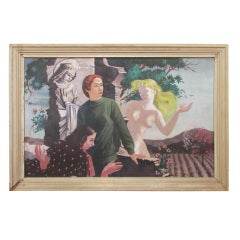 1930's Large Allegorical Painting Sexuality & Temptation