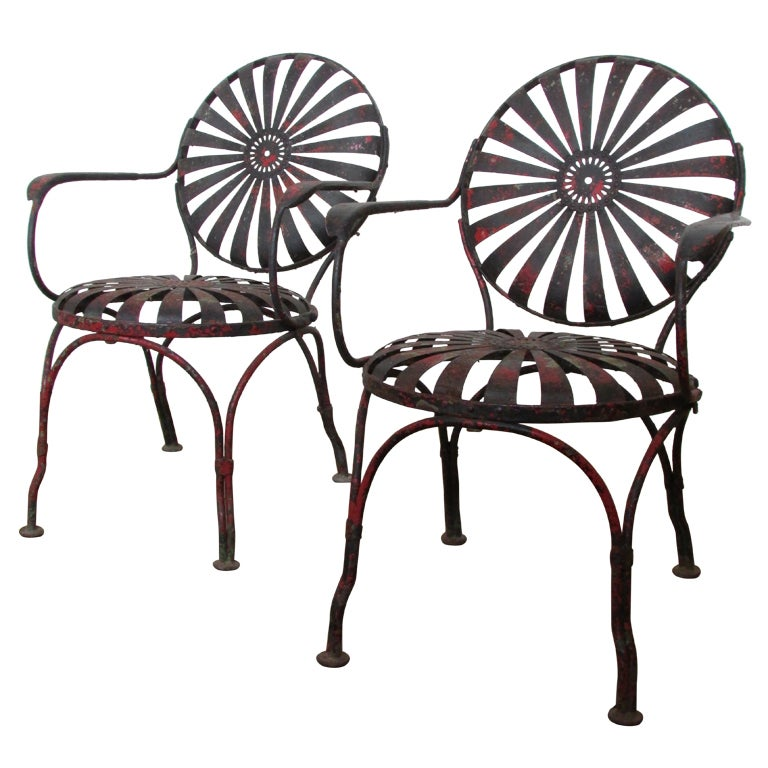 1930's Francois Carre Sunburst Spring Garden Chairs For Sale
