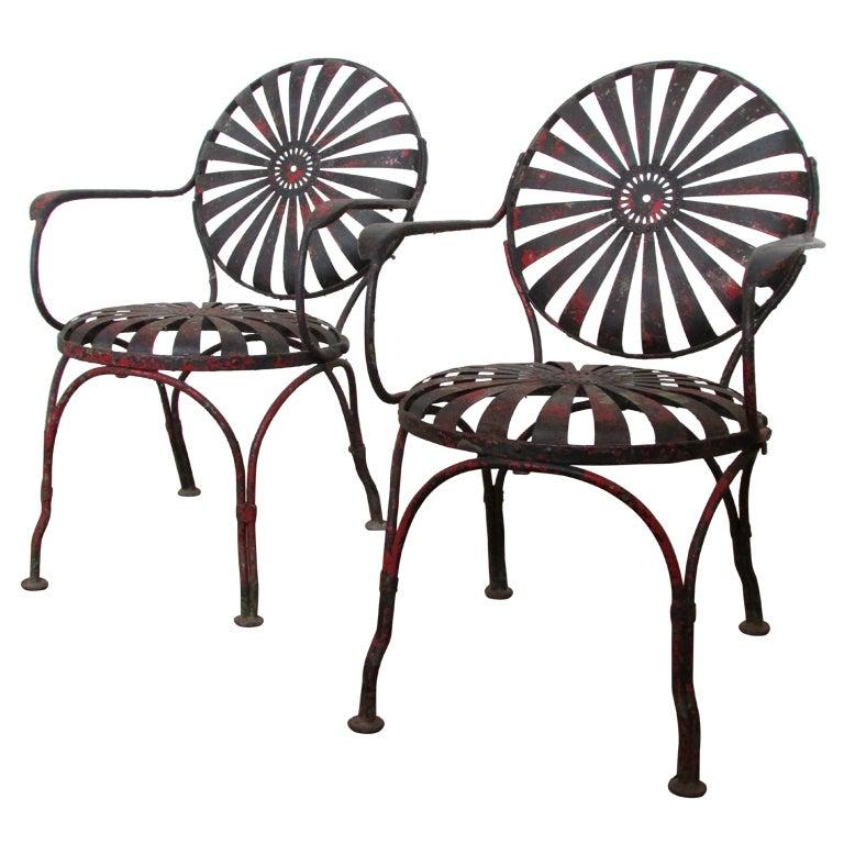 1930's Francois Carre Sunburst Spring Garden Chairs 1