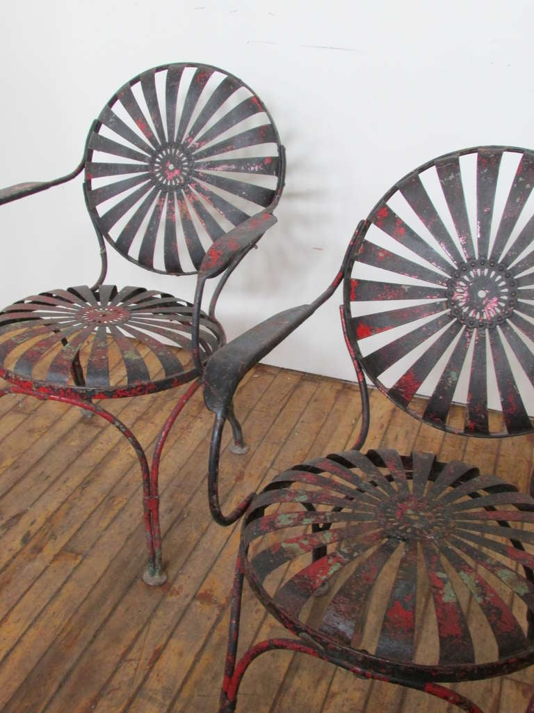 1930's Francois Carre Sunburst Spring Garden Chairs image 2