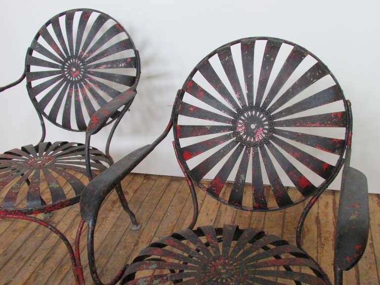 1930's Francois Carre Sunburst Spring Garden Chairs image 3