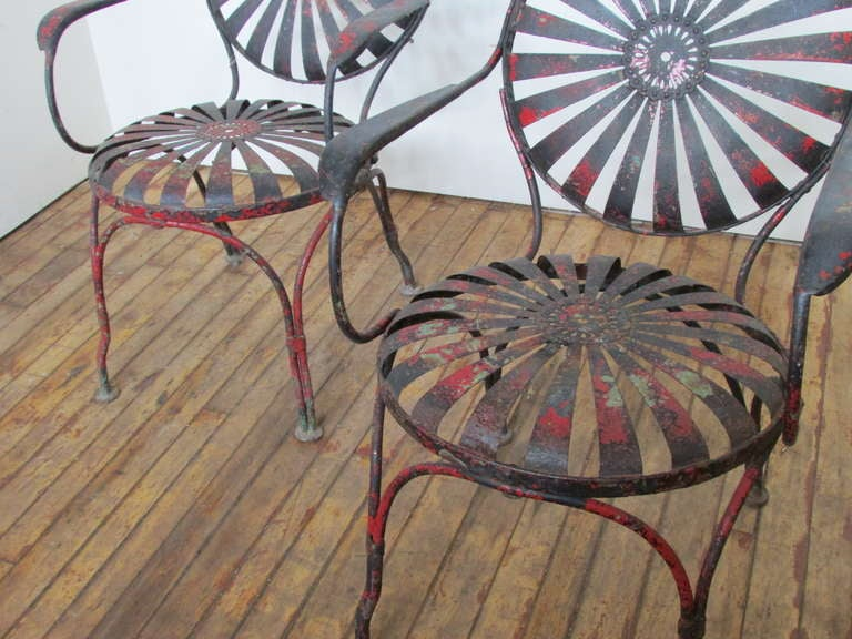 1930's Francois Carre Sunburst Spring Garden Chairs image 4