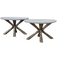 Pair Antique 1940's X Base Primitive Modernist Tables