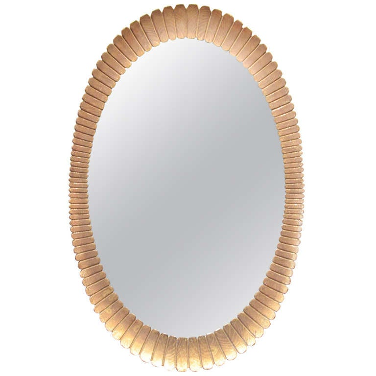 Oval Scallop Form Giltwood Mirror