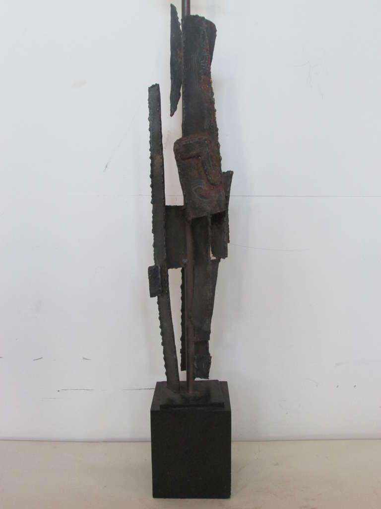 Harry Balmer Brutalist Iron Sculpture Lamp 2