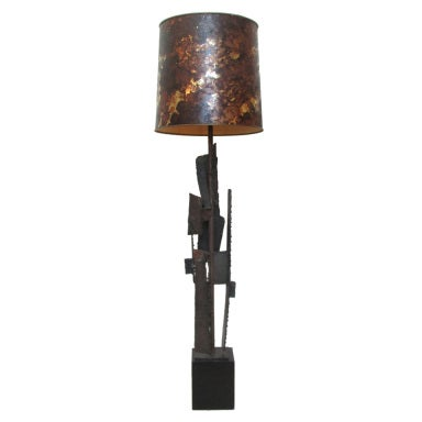 Harry Balmer Brutalist Iron Sculpture Lamp