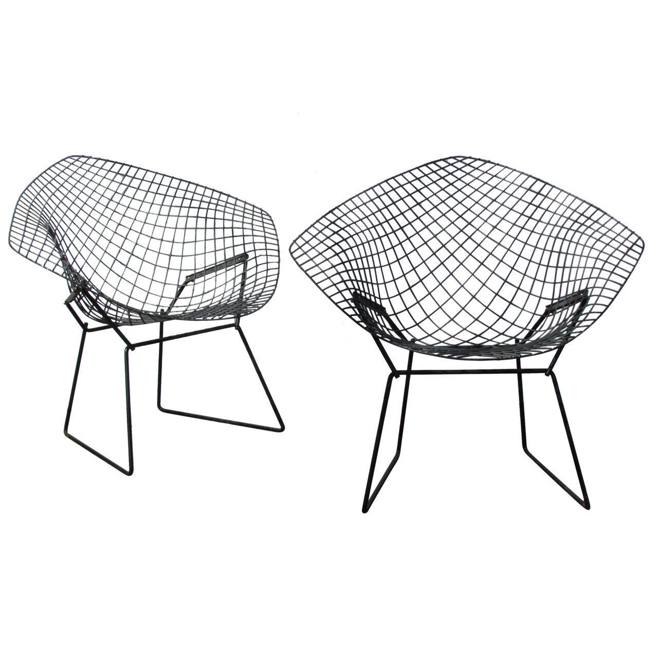 Bertoia diamond chair black - Pair Of Harry Bertoia Diamond Chairs 1