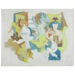 Abstract Cubist Style Figural Interior Scene Painting
