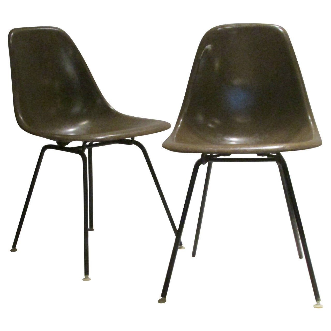 Early Eames for Herman Miller Seal Brown Fiberglass Chairs