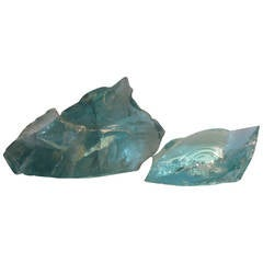 Two Large Old Factory Aqua Chunk Glass Cullets