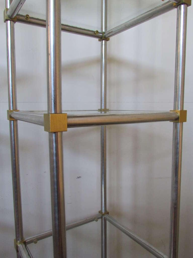 polished aluminum and gilt brass etageres at 1stdibs. Black Bedroom Furniture Sets. Home Design Ideas